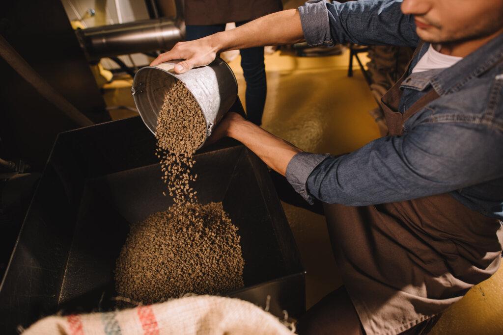 Příprava kávových zrn v pražírně...